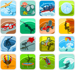 Set of a adventure icons