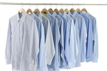 rack shirts isolated on white