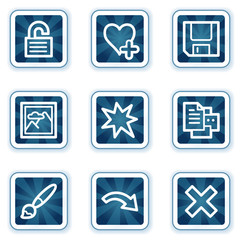 Image viewer web icons set 2, navy square buttons