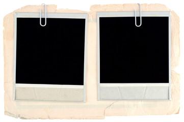 Blank photo frames on old cardboard background