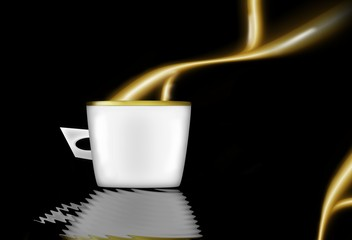 A cup with choccolate's smoke