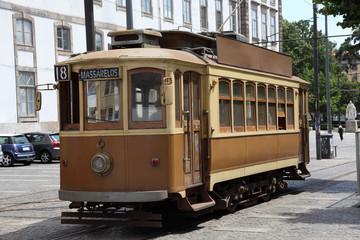 Old tramway wagon in Porto, Portugal