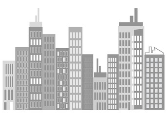 immeubles gris sur fond blanc