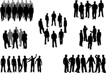 Large group of man silhouettes - vector illustration