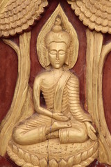 art on door of temple, Wat Nongnaewararam, Kud Rang, Mahasarakam