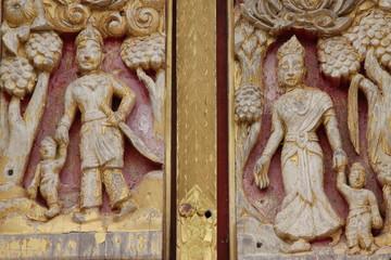 art on window, Wat Nongnaewararam, Kud Rang, Mahasarakam