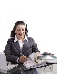 Women with headset and file-folder
