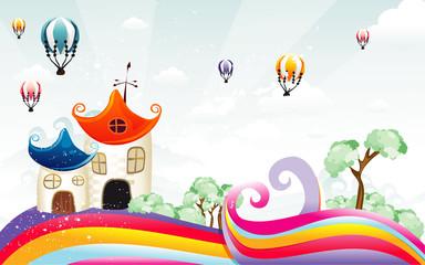 Spoed Foto op Canvas Regenboog Cartoon house