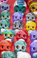 Colorfull skulls on display at  local market