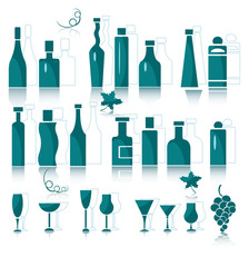 Icons of wine bottles, goblets and vine elements