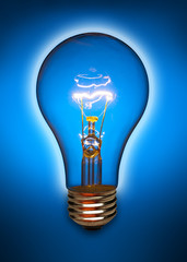 Clear light bulb back lit by a blue light and turned on