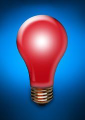Red light bulb on blue