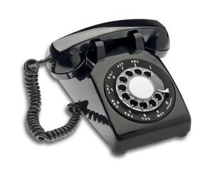 Black dial phone, isolated