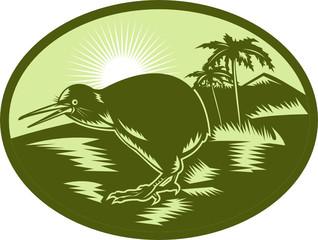kiwi bird side view with landscape