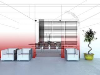 sala riunioni meeting 3d rendering wireframe ufficio