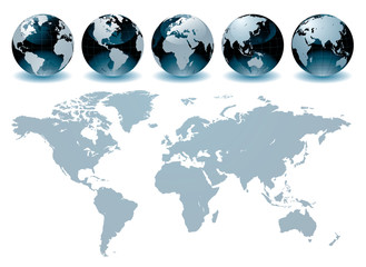 Aluminium Prints World Map World Globe