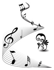 Abstract musical lines with notes