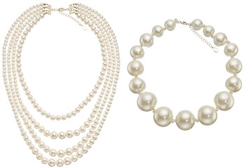 Pearls Circle & Necklace isolated on white background.