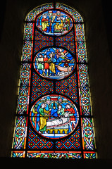 Stained glass of the basilica of holy nectar gland