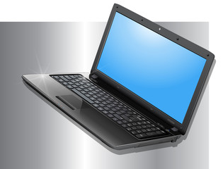 business background with laptop on silver