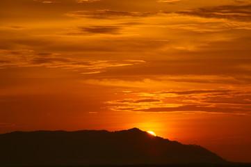 Sunset in mountains Matang. Borneo.
