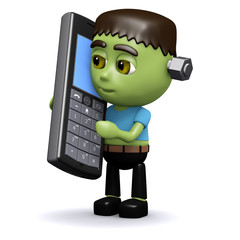 3d Frankenstein with his mobile phone