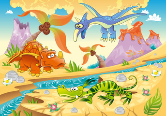 In de dag Dinosaurs Dinosaurs with prehistoric background. Vector illustration