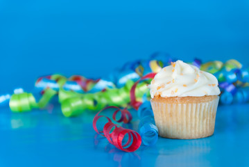 Party Cupcake on Blue