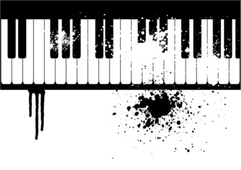 Illustration of a grunge piano on white background