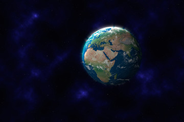 Planet Erde vor Sternenhimmel