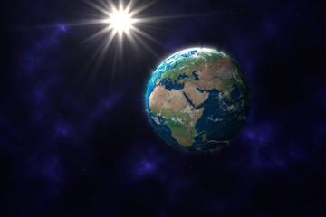 Planet Erde vor Sternenhimmel, im Hintergrund die Sonne