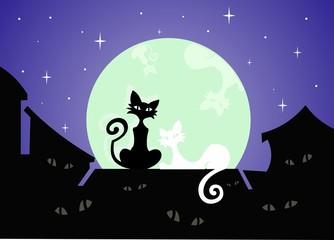 Коты на крыше под луной