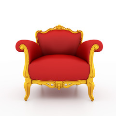 Classic glossy red armchair isolated on white
