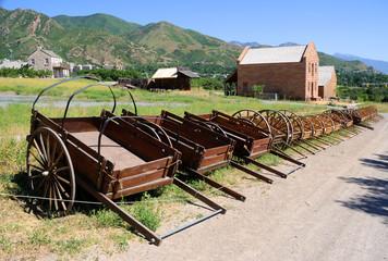 Display of Mormon Settler Hand Carts at Heritage Park in Utah Wall mural