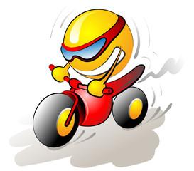 smiling ball riding a bike