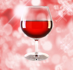 one glass of wine on red background