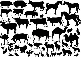 collection of farm animals silhouettes