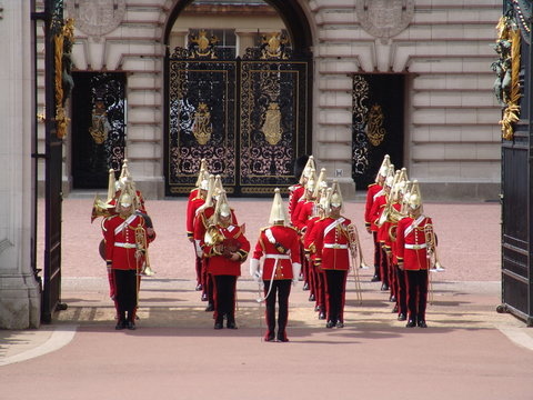 Marching band at Buckingham Palace, London, UK