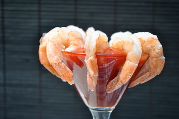 A shrimp Cocktail isolated over Black