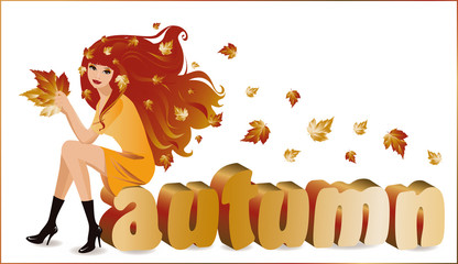 """Autumn girl with text """"autumn"""" in 3D image, vector"""