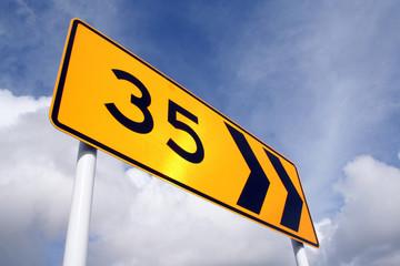 35km around the bend traffic sign