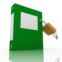 folder with the lock on a white background