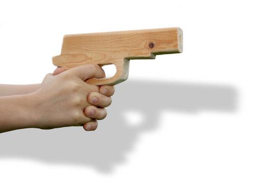Self made toy gun in child's hand
