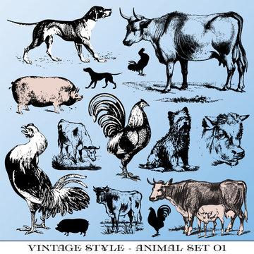 various Vintage-style illustrations  - farm animals set