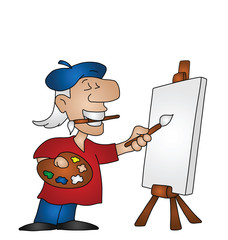 Cartoon artist with copy space on canvas for own image