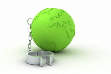green globe with shackles