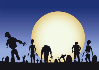 Halloween zombies coming at ya through moonlight