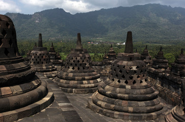 Buddhist bells on the Borobodur Indonesia