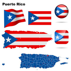 Puerto Rico vector set. Shape, flags and icons.
