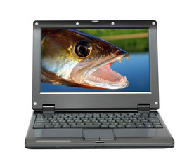 small laptop with fishing themes